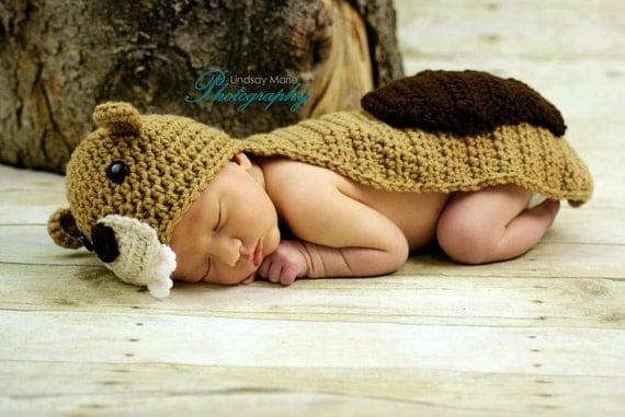 Beaver Photo Prop Crochet - Newborn