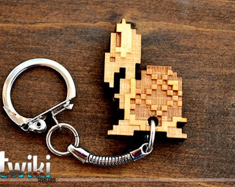 Laser cut and engraved Mario Bros 8 bit Koopa wood keyring
