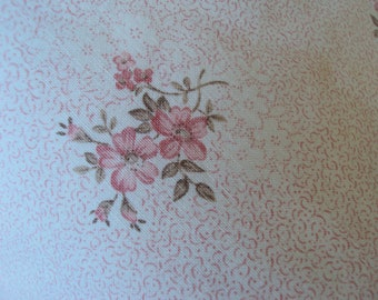 Yardage Vintage French Faded  Fabric Pink Flowers Suitable for Patchwork Quilting Lavender Bags Feedsack Pillow