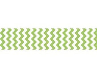 "STORE CLOSING Sale Riley Blake Sew Together Green Chevron 7/8"" Grosgrain Ribbon 1 yard"