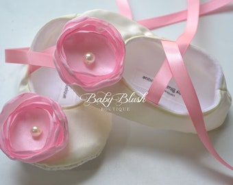 Ivory Satin Baby Shoes Soft Ballerina Slipper With Light Pink Flower and Ribbon Ties