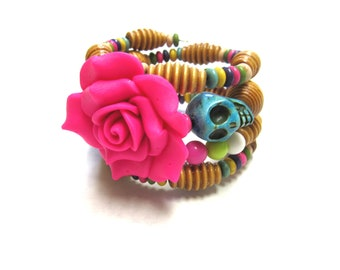 Day of the Dead Bracelet Sugar Skull Wrap Around Cuff Hot Pink Rose