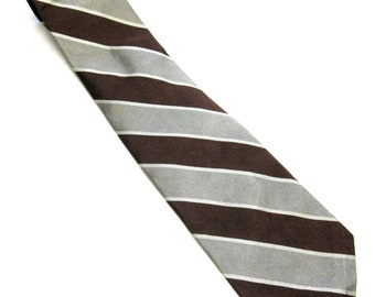 Gray Brown Necktie Stripe Robert Talbott Neck Tie