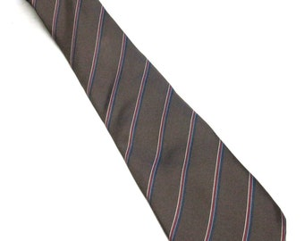 Brown Blue Red Necktie Silk Tie Isaco