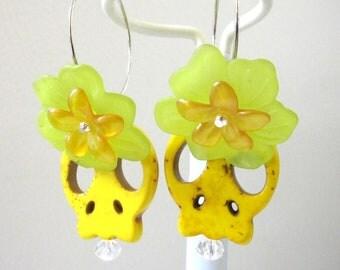 Yellow Sugar Skull Earrings Day Of The Dead Hoops Green Flower