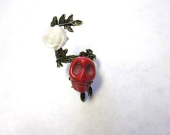 Sugar Skull Ring Day of the Dead Jewelry Skull Rose Ring