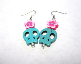 Blue Skull Earrings Day of the Dead Flat Sugar Skull Earrings