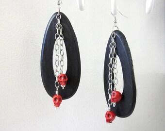 Skull Earrings Day of the Dead Earrings Sugar Skull Jewelry Wood Red Skulls