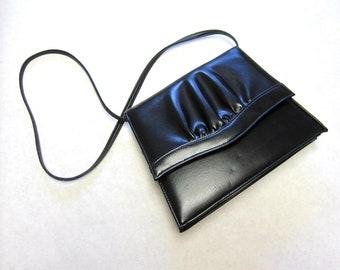 Black Handbag Slim Ruched Purse Hardside Firmside Shoulderbag
