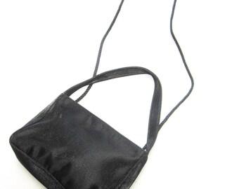 La Regale Black Satin Evening Purse Handbag