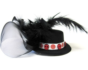 Hat Fascinator Black Red Sugar Skull Day of the Dead Hair Accessory