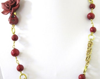 Sugar Skull Day Of The Dead Necklace Cranberry & Gold Jewelry