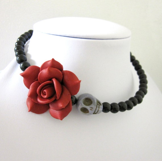 Day of the Dead Necklace Sugar Skull Choker Memory Wire Gray Black Red Rose