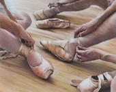 Ballerinas tying pointe shoes signed limited edition giclee ballet print. Fits IKEA frames