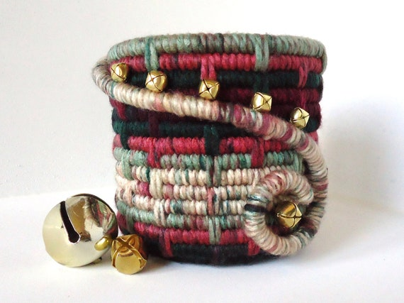 Reserved for Joanie-Handmade Holiday, Yarn Coiled Pencil Holder, Jingle Bells, Red Green White