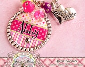 BIG SISTER NECKLACE Girl's Personalized Big Sister Charm, Polka Dots Stripes, Big Sister, Princess, Flower Girl, Present Gift, Wedding
