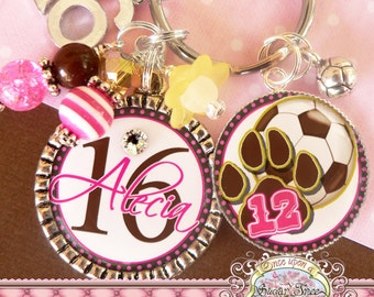 SWEET 16 Gift, Personalized Name Key Chain, Soccer, Paw Print, Number 16 Charm, Sweet 16, Birthday Gift, Get Well, Personalized Jewelry