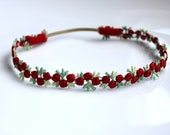 Baby Flower Halo, Baby Girl Red and Green Flower Halo Headband, Beautiful Newborn Photo Prop