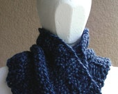 Cowl, mobius scarf, endless scarf, continuous scarf  gaitor blue multicolored hand knit