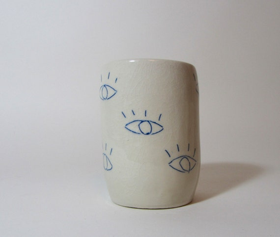 Small sake or tea cup, blue EYES