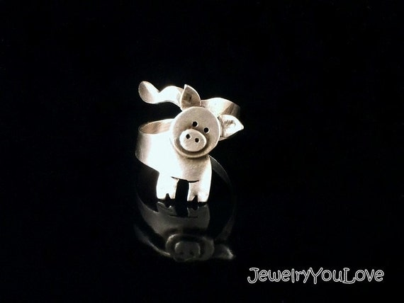 Sterling Silver Pig Ring - Peggy