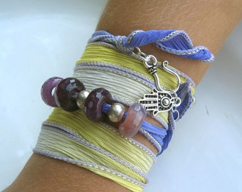 Desert Purple and Yellow Silk Wrap Bracelet - Bohemian Wrap Bracelet - Yoga Inspired Bracelet