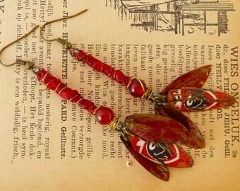 3 leave recycled  Jupiler tin earrings