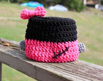 Newborn, Infant, Child Size Crochet Halloween Girly Frankenstein Hat with Bow