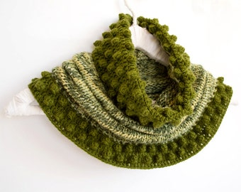 Multicolor Cowl in Dark Green, Mint and Lime, Hand-knitted Winter Accessories, Bohemian Scarf