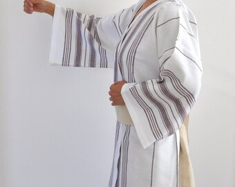 Robe Bath Robe Kimono Robe Peshtemal Robe with Obi Belt Bridesmaids Robe Wedding Robe White Brown Striped