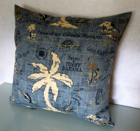 Nautical Decorative Pillow Cover in Tommy Bahama Island Song Ocean Indoor/Outdoor Fabric