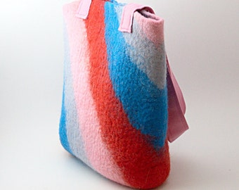 Felted bright purse - bag shoulderbag - red pink blue tote