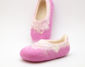 Girl felted slippers - merino wool felted slippers - pink white - all toddler sizes made to order