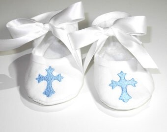 Christening  Booties- Baby Boy Baptism Shoes- Baby Boy Booties- Baby Gift- Newborn Keepsake Gift- Christening Keepsake Gift-  Baby Boy Shoes