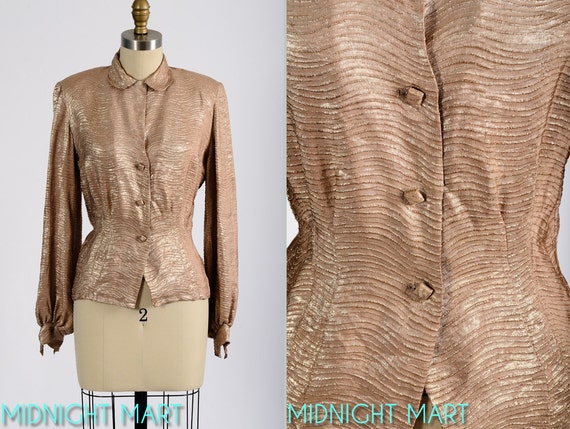 reserved/ payment 2 of 2/1940s blouse/ lurex blouse/ champagne