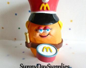 Vintage McDonald's Happy Meal Toy,  McNugget Buddies, Girl Drummer, Drum, McNugget Toys , Chicken McNuggets, Music, 1988, Food toys