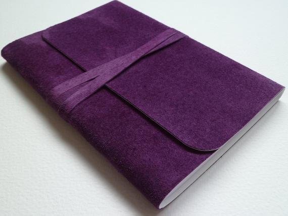 Suede Bound Notebook/Journal Lovely Rich Purple Handmade