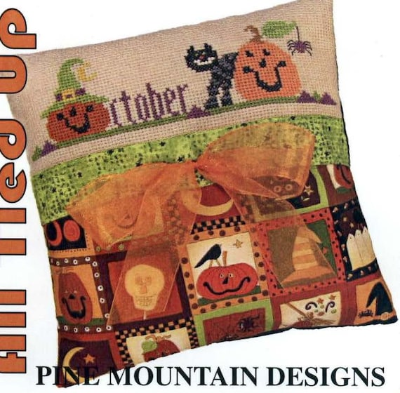 October Spooks - an All Tied Up cross stitch pillow kit by Pine Mountain Designs