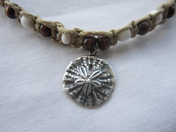 Beaded anklet hemp,  starfish charm, brown wood beads, white seed beeds hemp macrame