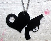 SHOT THRU the HEART - Black Laser Cut Necklace