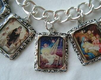 Charm Bracelet  The Nativity  Madonna and Child Altered Art Bracelet