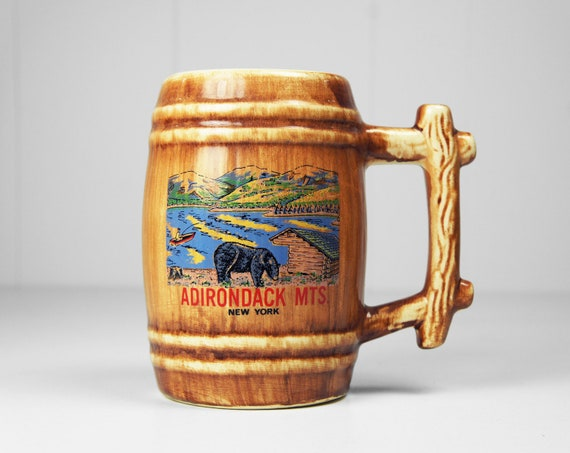Vintage 1980's Adirondack Mountains, New York Beer Stein / Mug