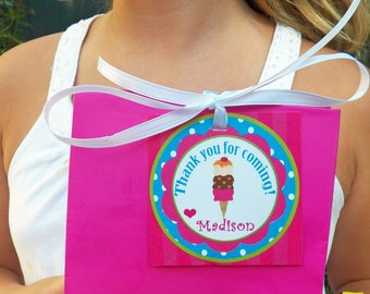 Ice Cream Favor Tags Printable or Printed with FREE SHIPPING - ANY Wording- Personalized Tags - Ice Cream Brights Collection