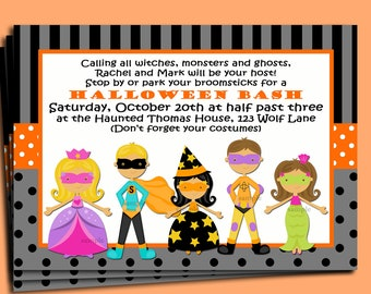 Halloween Kid's Invitation Printable or Printed with FREE SHIPPING - Trick or Treat Collection - You pick Hair Color/ Skin Tone