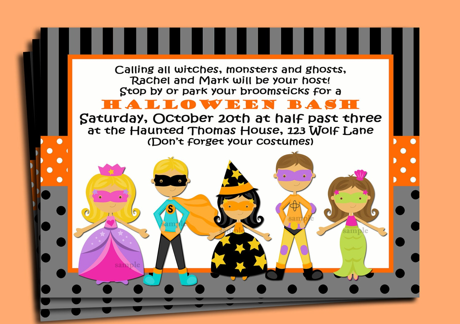 Halloween Kids Invitation Printable or Printed with FREE – Costume Party Invitations Free Printable