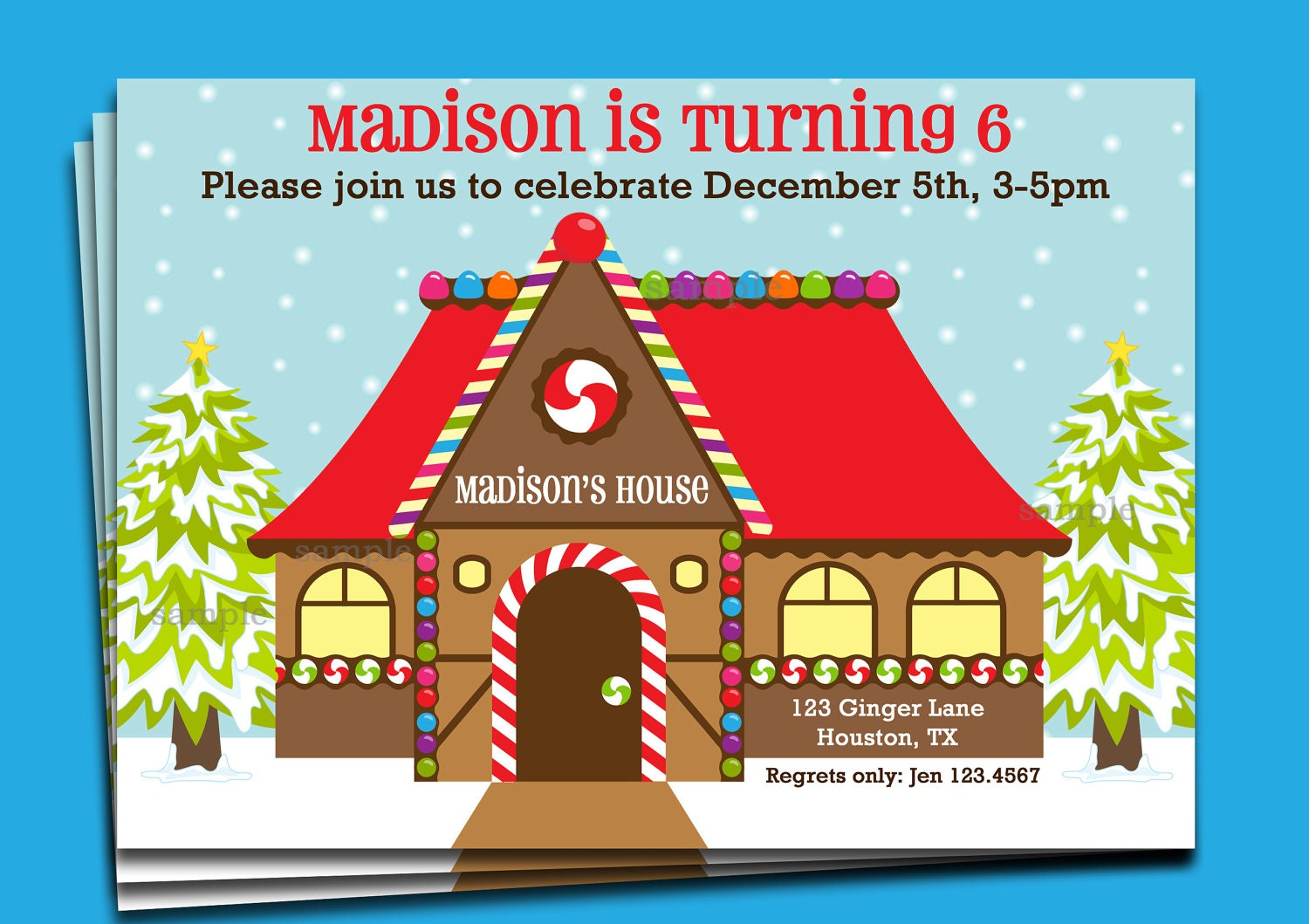 Gingerbread house invitation printable or printed with free Gingerbread house decorating party invitations