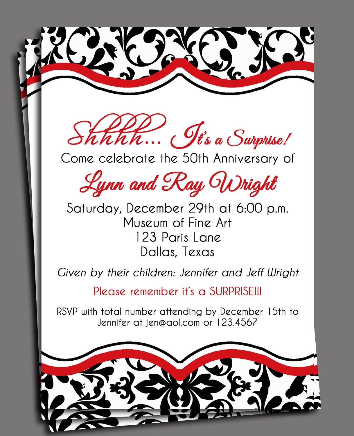 Black Damask Invitation Printable or Printed with FREE – Damask Birthday Invitations