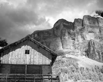 "Hut and mountains in the Dolomites, Italy. Black and white, 5""x7 "", photo greeting card, blank."