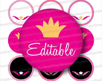 """INSTANT DOWNLOAD - 1"""" Circles 4x6 Editable JPG 78 Princess royal pink and black Queen ornaments Bottle cap Hairbow Princess Decoration pyo"""