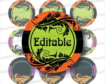 "INSTANT DOWNLOAD - 1"" Circles 4x6 Editable JPG 81 Halloween Ornaments Bottle cap Hairbow Embellishment Envelope Decoration pyo diy"